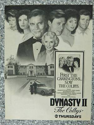 1985 Dynasty II The Colbys - Vintage Magazine Ad Page - ABC Television Show