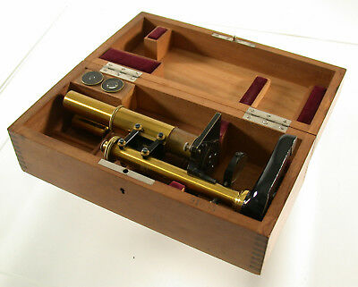 LEICA Leitz Mikroskop microscope Messing brass antique early früh orig. Holzbox