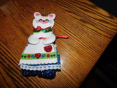 Cat Christmas Felt Ornament Handmade with Glass Beads Sequins Vintage