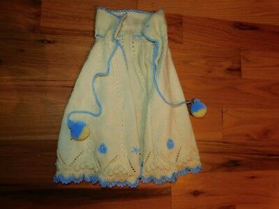 Knit Child Cape Handmade with Pom Poms Yellow and Blue