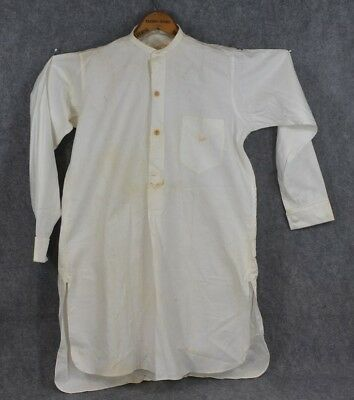 collarless shirt men pull over cotton French cuffs long tails white antique 1880