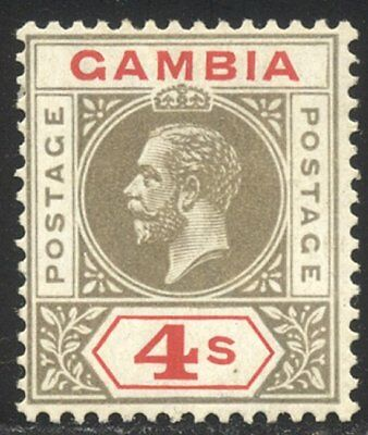 GAMBIA #96: 1922 4sh Gray & Red ($105)