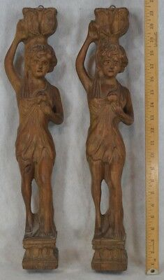 carved lady women Greek posts matched pair 21 in. clean antique architectural