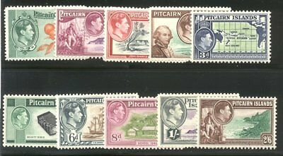 PITCAIRN #1-8 Mint - 1940-51 K G VI Pictorial Set ($75)