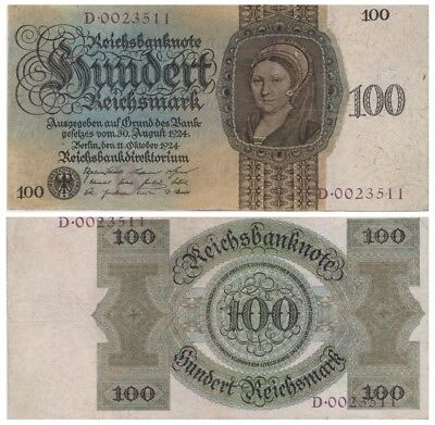 1oo ReichsMarks German banknote issued in 30.08.1924 D vf