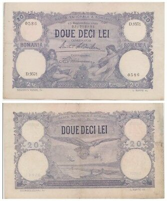 2o - Doue Deci - Lei Romanian bancnote issued in 19.09.1929 D vf