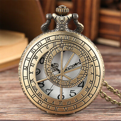 Antique Geometry Men Women Analog Quartz Pocket Watch Pendant Necklace Chain