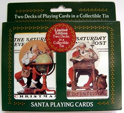 LE 1996 2 DECKS NORMAN ROCKWELL LE SEP SANTA PLAYING CARDS in TIN & SLEEVE MIB