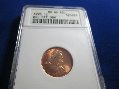 1995/95 Double Die Obverse Lincoln Cent ANACS MS 66 Red Nice Original Surfaces