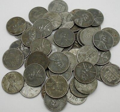 1943-P Lincoln Steel Wheat Cent Penny Roll (50 Coins)