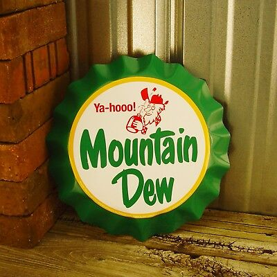 Mountain Dew Soda Pop Yahoo Metal Tin Sign Bottle Cap Wall 3D Vintage Decor