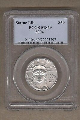 2004 U.S. Platinum Statue of Liberty Eagle $50 Coin PCGS MS 69 1/2 Oz Platinum