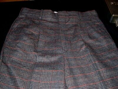 "Vintage Mens 80's Plaid Wool Oakbrook Pants 32 X 26 let of 2"" Pleated Front"