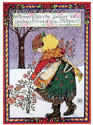 Mary Engelbreit-MEMORY POWER GATHER ROSES IN WINTER Holiday New Year's Card-NEW!