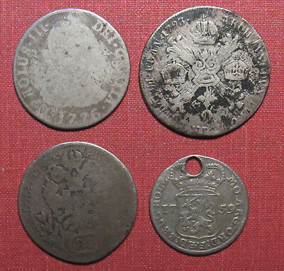 LOT OF (4) 18th CENTURY WORLD SILVER COINS - ALL ARE LOW GRADE OR DAMAGED