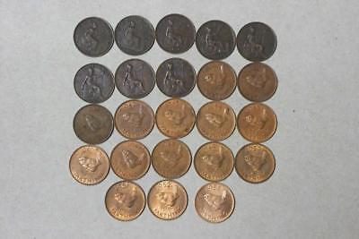 1862,72,78,81M,95,1902,06,07,1939-52,55 GREAT BRITAIN FARTHINGS 23 COINS glcm