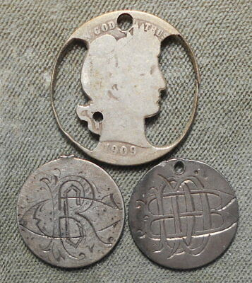3 Love & Cutout Tokens: Two Seated 10c 1875 & 1883 + Cutout Barber 1909P 25c