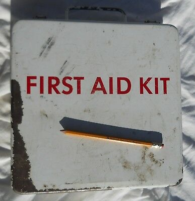 Vintage First Aid Kit Metal Box w/Instructions on the Lid Hinged Wall Mount