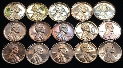 Glossy Gem Proof And SMS Run Of 15 Lincoln Memorial Cents 1960-1974-S!!