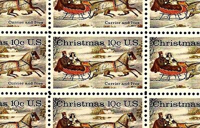 1974 - CHRISTMAS-CURRIER & IVES - #1551 Full Mint Sheet of 50 Postage Stamps