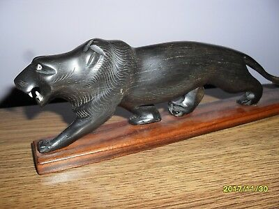 Beautiful Vintage Hand Carved Wooden Mahogany Panther Jaguar Cat 8 1/2 inch