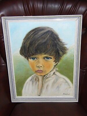 Oil Painting on Canvas Young Boy Portrait signed Byan Samt