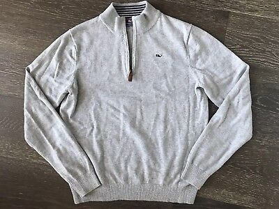 Youth Boys Vineyard Vines Sweater 1/4 zip Gray L Large 12 14 16