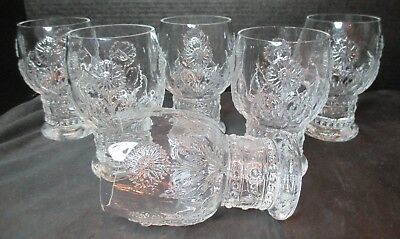 """Embossed 6 Footed Tumblers Sunflower Mayflower Leaves 5"""" Tall"""