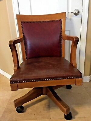 Antique Johnson Company Oak Leather Upholstered Office