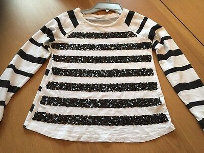 Girls sparkly white and black top age 9-10 years