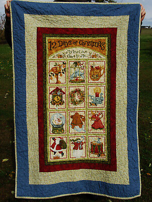 """VINTAGE CHRISTMAS THROW 12 DAYS OF CHRISTMAS QUILT Excellent 51"""""""