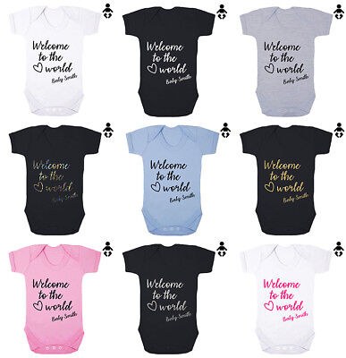 WELCOME TO THE WORLD BABY... personalised name, gift Babygrow BABY VEST Bodysuit