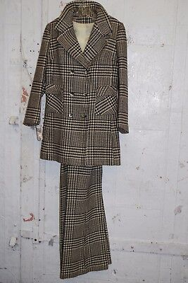 VTG Suspender Overall Pants & Coat SUIT - Black & White Houndstooth Plaid Wool
