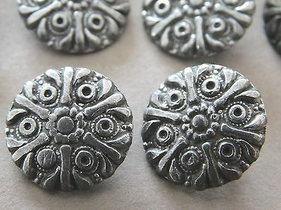 Set 10 Old Antique Pewter  Metal Buttons Snowflake Floral Pattern 11/16""