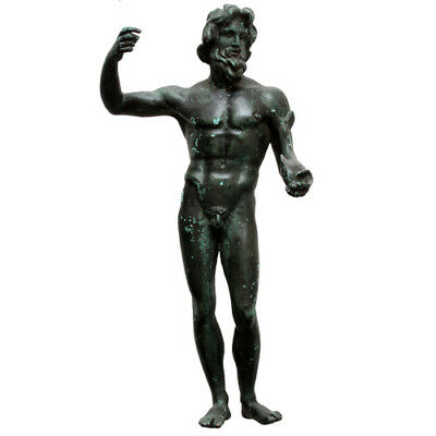 HUGE , 1800 AD GREEK BRONZE STATUE OF POSEIDON HOLDING DOLPHIN , 1040 Grams