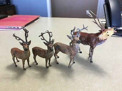 Lot of 4 Antique Vintage metal deer / elk
