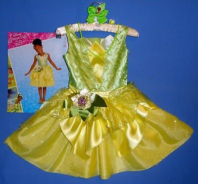 Disney Tiana costume dress 4-6X,7-8;Princess and the Frog-hair bow-jewelry LOT-4