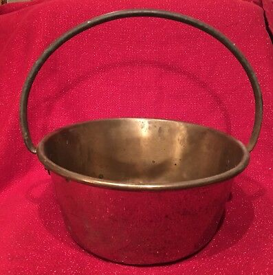 Antique Ex LARGE Vintage Polished BRASS Copper Flower Floor Planter POT Tub