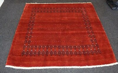 Persian Qashqai finely woven red square Gabbeh rug in perfect condition 5x5 ft