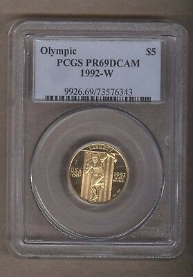 1992-W US Olympic Gold Commemorative Proof $5 Coin PCGS PR69DCAM
