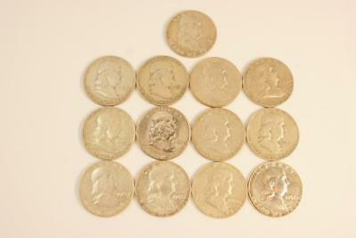 Franklin Half Dollar 90% Silver Coins 13 total No Reserve