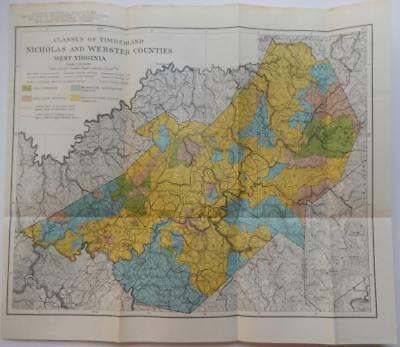 Vintage Map of Classes of Timberland Nicholas & Webster Counties West Virginia