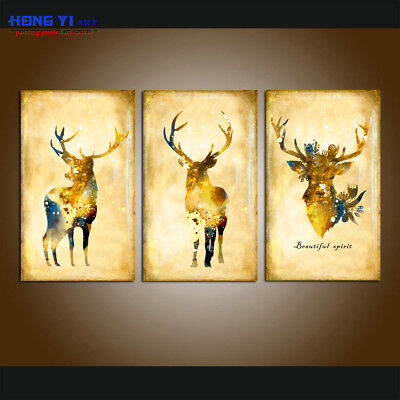 Large Canvas Print Modern Elks Animal Color Abstract painting Wall Art Home Deco