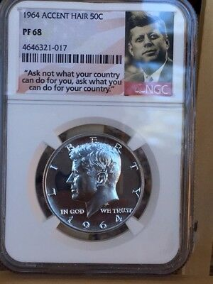 """1964 Accented Hair Kennedy Half NGC PF 68 * Price Guide $465 """"Ask Not"""" Label *"""