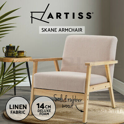 SKANE Armchair Lounge Dining Chair Wooden Timber Kitchen Cafe Fabric Seat Beige