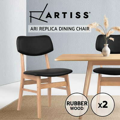 2x Artiss Retro Replica ARI Dining Chairs Designer Brown Wooden Kitchen Café