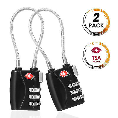 TSA-Approved 3 Digital Combination Luggage Lock With Steel Cable - 2/3/4/5-Pack