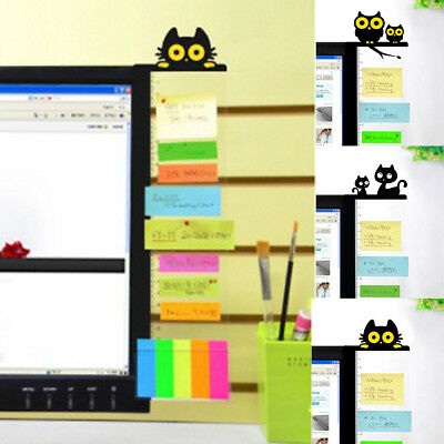 Cute Monitor Memo Note Board Computer Screen W/ Card Holder Sticky Office Home