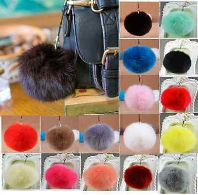 Keyring Soft Fluffy Rabbit Fur HandBag Pendant  Ball Pearl Pompom Keychain SD