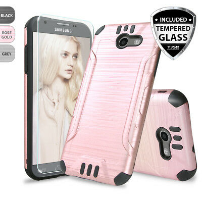 For Samsung Galaxy Halo Armor Brushed Phone Case Cover+Tempered Glass Screen